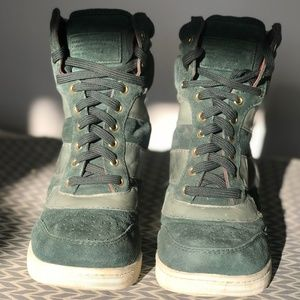 MBMJ GREEN LEATHER & SUEDE HIGH TOPS